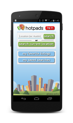 HotPads Android home screen
