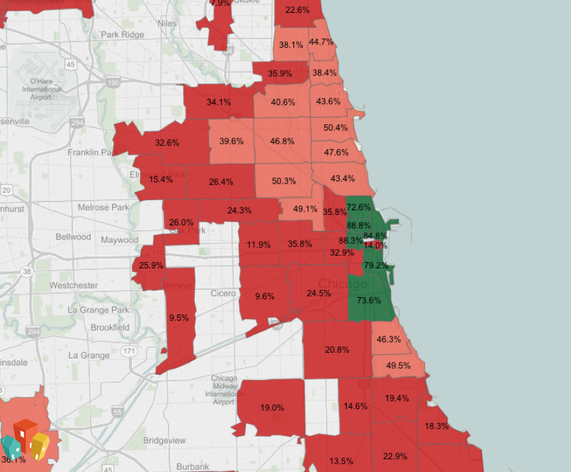 Map of pet friendly neighborhoods in Chicago