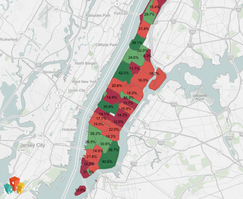 Map of pet friendly neighborhoods in Manhattan